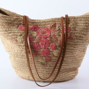 LUCKY Brand Beige Floral Straw Beach Tote Bag